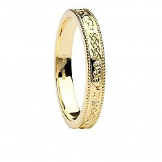 Claddagh and Celtic Knot Yellow Gold Wedding Ring