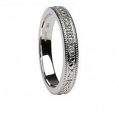 Frauen Diamant Claddagh White Gold Wedding Ring
