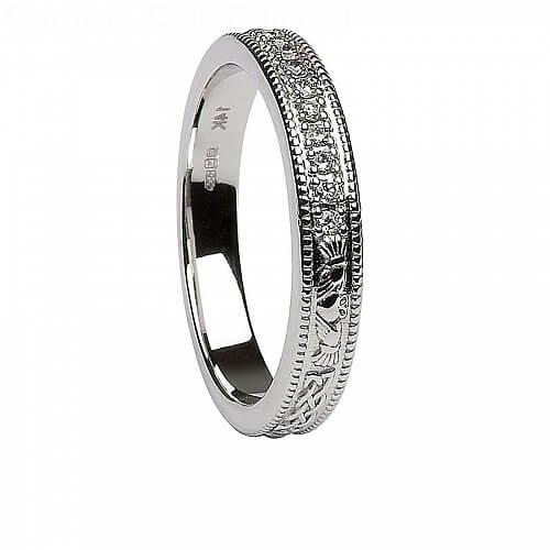 womens diamond claddagh white gold wedding ring - White Gold Wedding Rings For Women