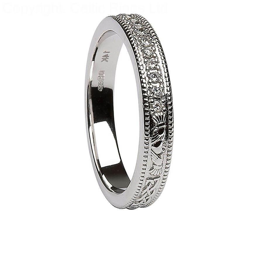 women's diamond claddagh white gold wedding ring