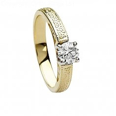 Or 14k Celtic Engagement Ring Round Cut