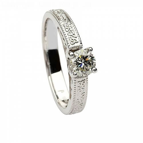Engagement Rings Knot: Embossed Trinity Knot Engagement Ring