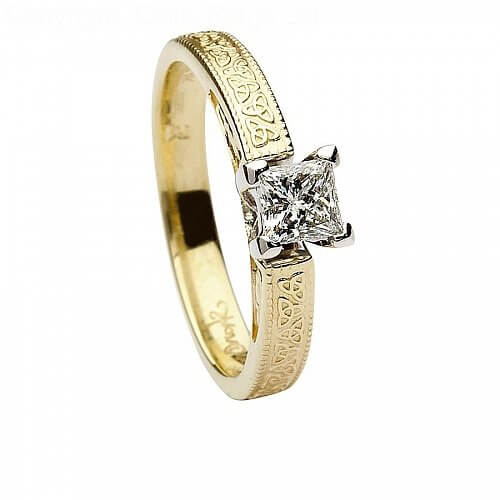 14k Gold Celtic Engagement Ring Princess Cut