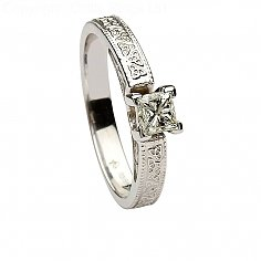 14k White Gold Celtic Engagement Ring Princess Cut