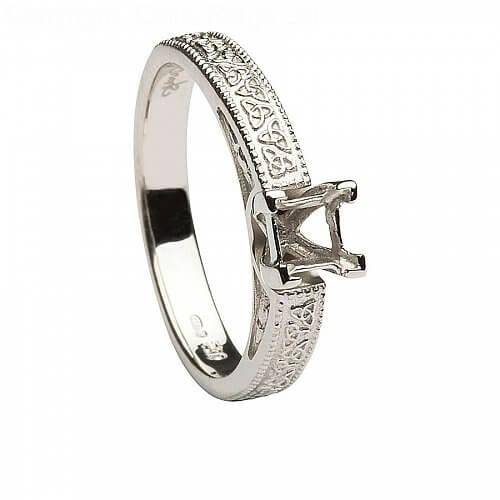 14k White Gold Celtic Engagement Ring Princess Cut