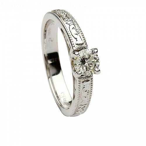 14k White Gold Claddagh Engagement Ring Round Cut