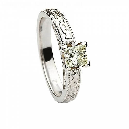 14k White Gold Claddagh Engagement Ring Princess