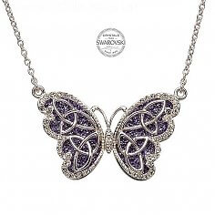Butterfly Trinity Pendant With Swarovski Crystals