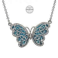 Butterfly Pendant With Aquamarine Crystals