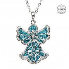 Trinity Pendentif ange avec cristaux Swarovski