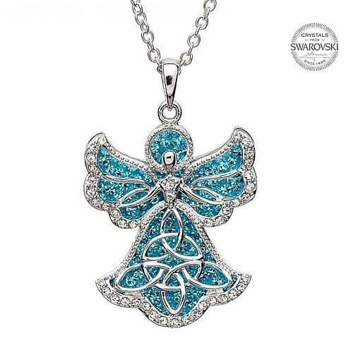 Trinity Angel Pendant With Swarovski Crystals