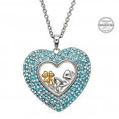 Pendentif coeur avec cristaux Swarovski
