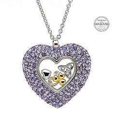 Trinity Heart Pendant With Swarovski Crystals