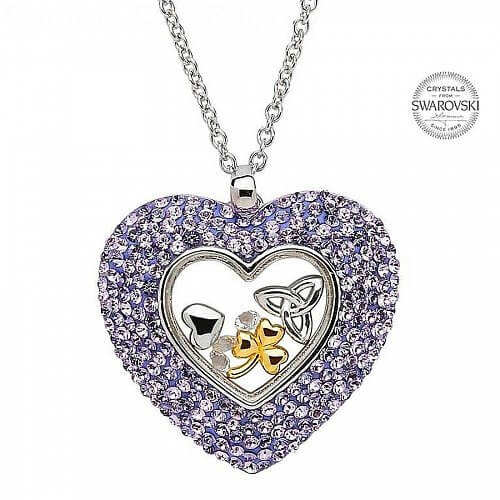 Trinity Heart Pendant With Swarovski Crystals