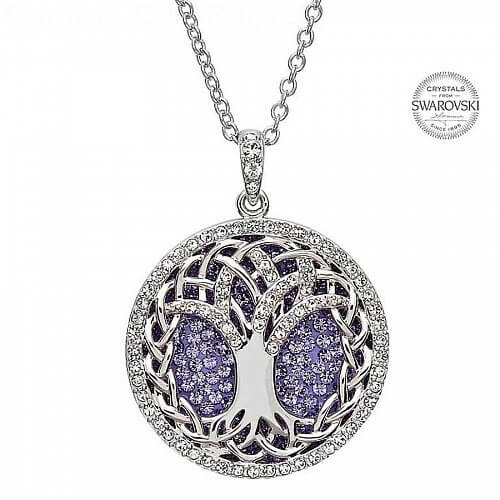Tree Of Life Pendant With Purple Crystals Celtic Rings Ltd