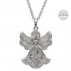 Angel Trinity Pendant With Swarovski Crystals