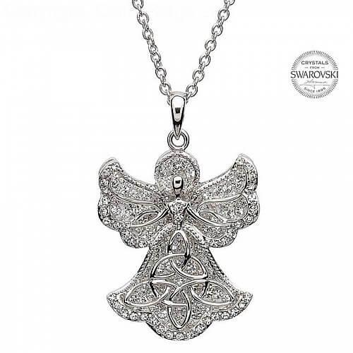 Angel shaped trinity pendant with swarovski crystals angel trinity pendant with swarovski crystals aloadofball Gallery