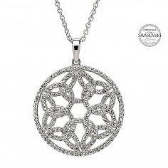 Trinity Circle Pendant With Swarovski Crystals