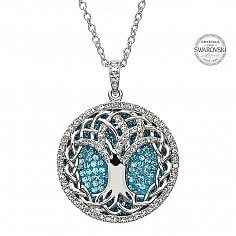 Tree Of Life Pendant With Aquamarine Crystals