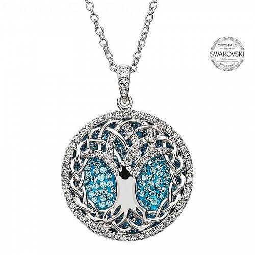 Tree Of Life Pendant With Aquamarine Crystals