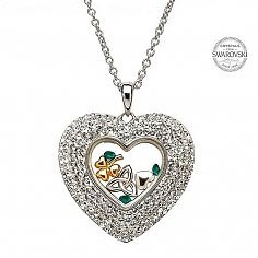 Trinity Shamrock Heart Pendant
