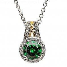 Silver Emerald Green CZ Pendant