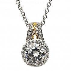 Pendentif CZ Argent Diamant Blanc