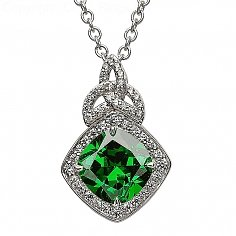 Silver Trinity Knot Pendant with Green CZ