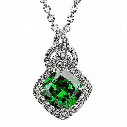 Silber Trinity Knoten Anhänger mit grünen CZ