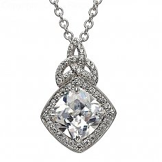 Silver Trinity Knot Pendant with White CZ