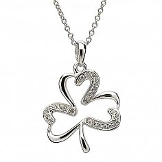 Silver Shamrock Pendant with Stone Set