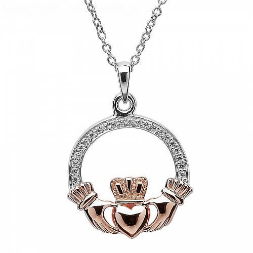 Silver and Rose Gold Claddagh Pendant