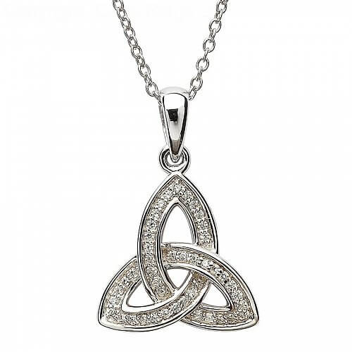 Silver Trinity Knot Pendant with CZ
