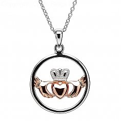 Silver Claddagh Pendant with Rose Gold Heart