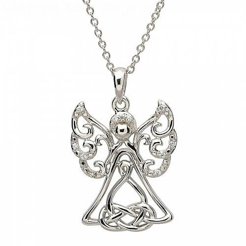 Silver Angel Pendant with Stone Set
