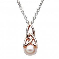 Perle Trinity Knot Roségold vergoldet Anhänger