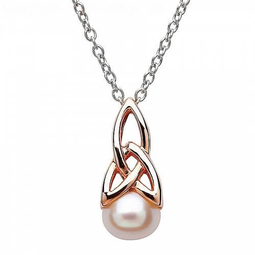 Pearl Trinity Knot Rose Gold Plated Pendant