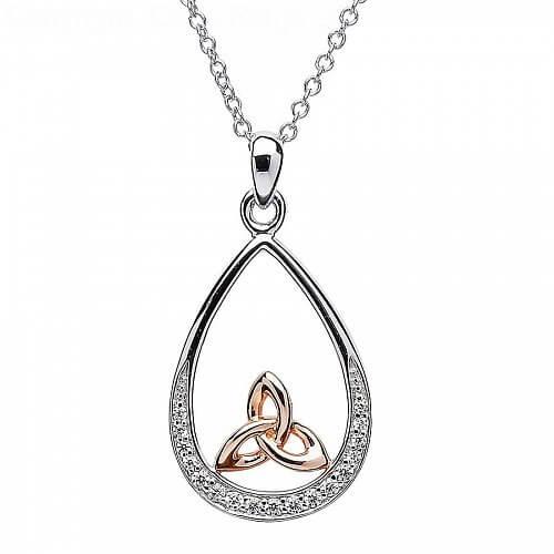 Silber und Roségold Trinity Knoten Anhänger
