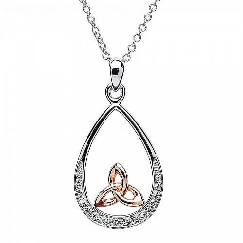 Silver and Rose Gold Trinity Knot Pendant