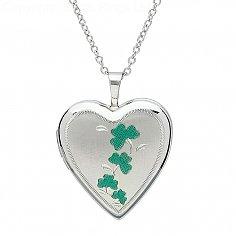Silber Kleeblatt Herzform Medaillon