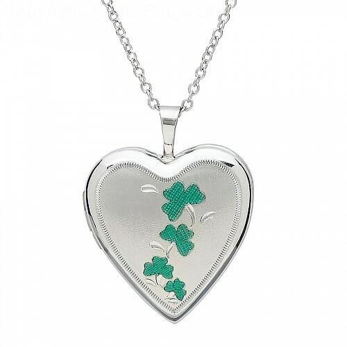 Silver Shamrock Heart Shape Locket