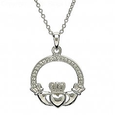 Silver Claddagh Pendant with Stone Set