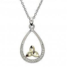 Trinity Knot Silver Stone Set Pendant