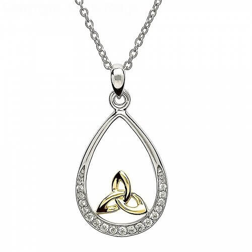 Silver Trinity Knot Stone Set Pendant