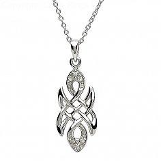 Celtic Knot Stone Set Silver Pendant