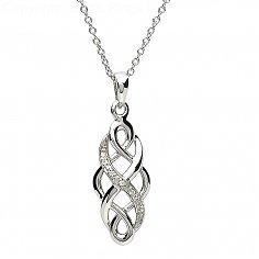 Sterling Silver Stone Set Celtic Pendant