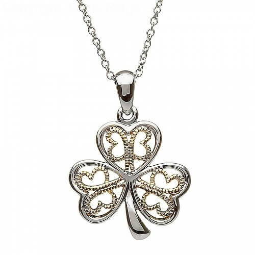 Silver Shamrock Pendant with Filigree