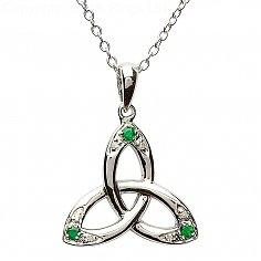 Trinité pendentif noeud avec émeraudes et diamants