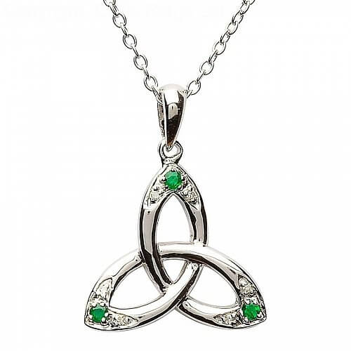 Trinity Knot Pendant with Emerald and Diamond