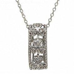 10K White Gold Diamond Shamrock Pendant